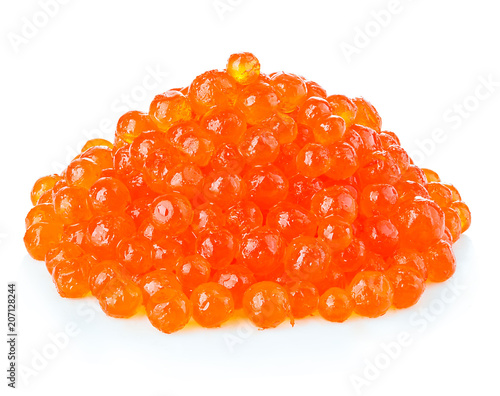 Tuinposter Ree Red caviar close-up isolated on white background.
