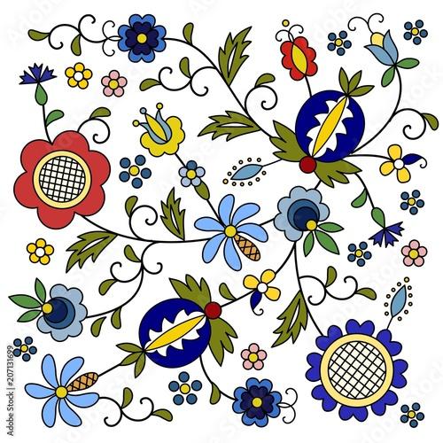 Fototapeta Traditional, modern Polish - Kashubian floral folk decoration vector, wzory kaszubskie, kaszubski wzór, haft obraz