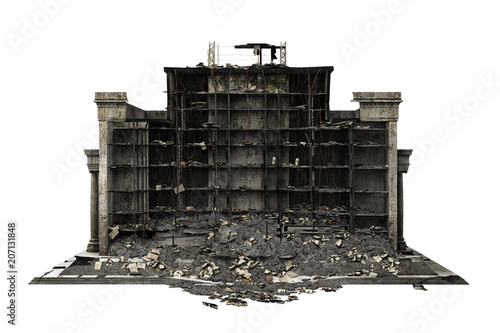 Fotografía  building ruins isolated on white