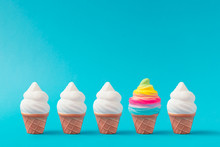 Colorful And White Ice Cream On Pastel Blue Background. Creative Minimal Summer Concept.