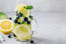 Infused Detox Water With Lemon And Cucumber Slices, Blueberry And Mint. Ice Cold Summer Lemonade In Glass Mason Jar