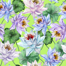 Beautiful Tropical Seamless Pattern. Large Lotus Flowers With Leaves And Stems On Bright Green Background. Hand Drawn Illustration. Watercolor Painting.