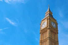 Big Ben Clock Tower In London, UK, On A Bright Day