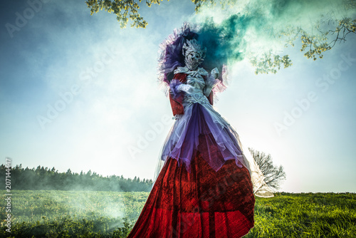 Fototapeta  Fairy tale woman on stilts in bright fantasy stylization
