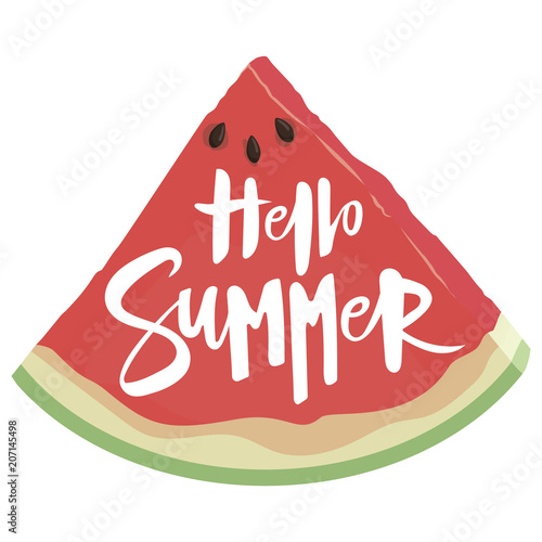 Staande foto Retro sign Piece of watermelon with the inscription Hello summer time. Illustration with juicy fruit. A drawing with the symbol of summer.