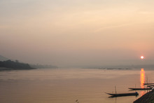 Sunrise On The Mekong River In Khong Chiam Is The Easternmost District Of Ubon Ratchathani Province Of Thailand.