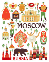 Russia Icons Set. Vector Colle...