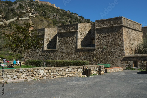 Fotobehang Mediterraans Europa Medieval fortress walls in Villefranche-De-Conflent, France