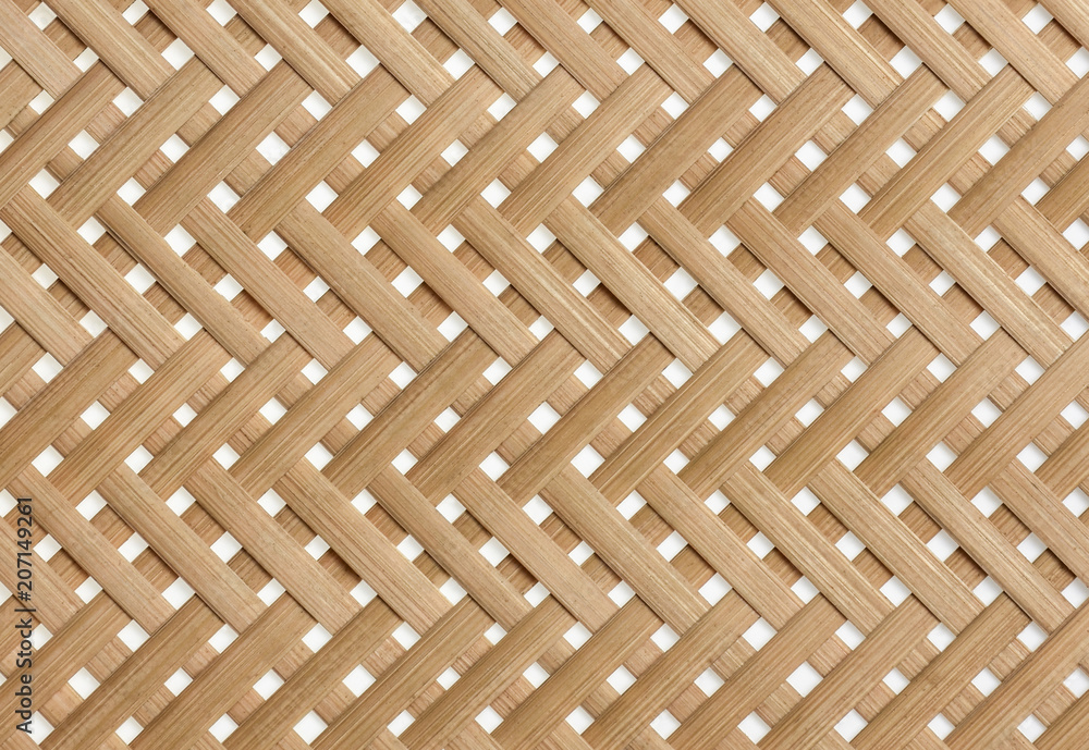 Fototapety, obrazy: Woven bamboo strips pattern close up. Wickerwork bamboo texture background.