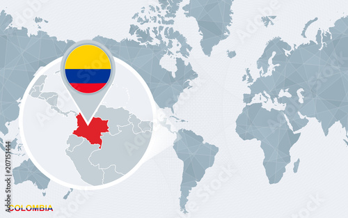 World map centered on America with magnified Colombia. - Buy this ...
