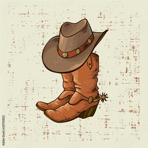 Fotografia, Obraz  Cowboy boots and hat