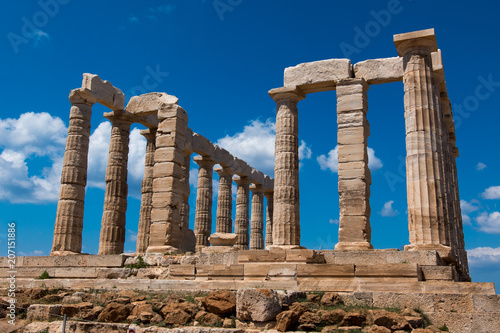 Staande foto Bedehuis cape sounion and the temple of poseidon