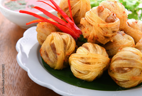 Fried pork ball with noodle
