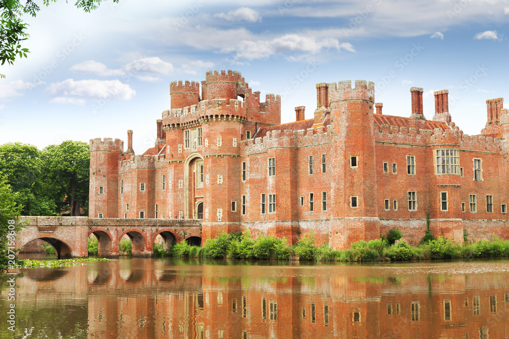 Fototapety, obrazy: Brick Herstmonceux castle in England East Sussex of 15th century