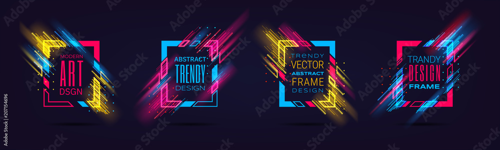 Fototapety, obrazy: Vector modern frames with neon glowing lines isolated on black background. Art graphics with glitch effect. Holographic design element for business cards, gift cards, invitations, flyers, brochures.