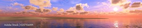 Fotografía  Panorama of sea sunset, sunrise. Baner.