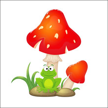 Cartoon Red Mushrooms With Grass And Stones And Frogs Sitting Un