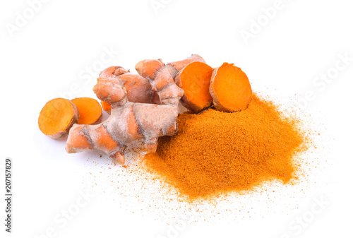 Canvas Prints Condiments Turmeric roots and turmeric powder isolated on white background