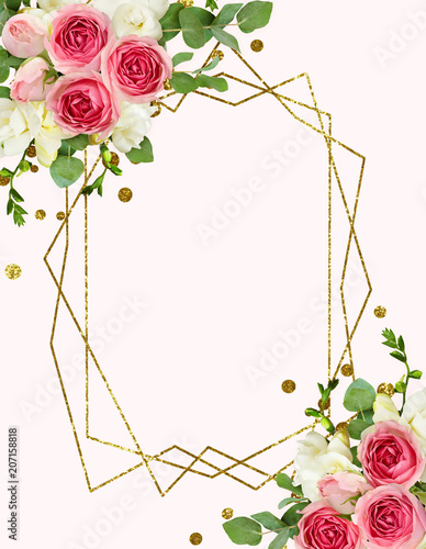 Poster Fleur Eucalyptus leaves, freesia and pink rose flowers in corner arrangements with confetti and glitter frame
