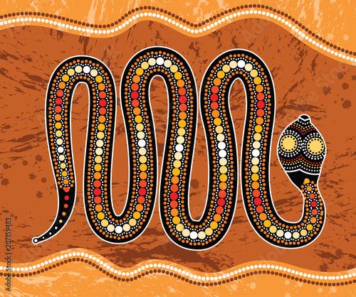 Fototapeta premium Aboriginal art vector painting with snake. Illustration based on aboriginal style of landscape background.
