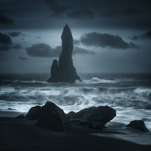 Reynisdrangur Sea Stacks Off Black Sand Beach, Reynisfjara, Iceland