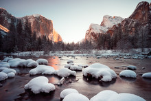 Snow Covered Rocks In Merced R...