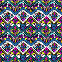 Naklejka Boho Tribal doodle pattern native sketch ethnic fabric design 4