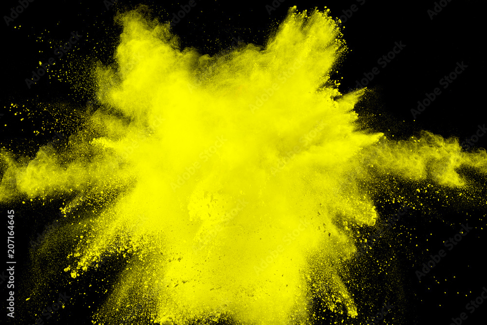 Fototapety, obrazy: abstract yellow dust explosion on  black background