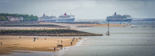 Queen Mary2, Queen Elizabeth And Queen Victoria In Liverpool To Celebrate The 175th Anniversary Of Cunard Cruise Line