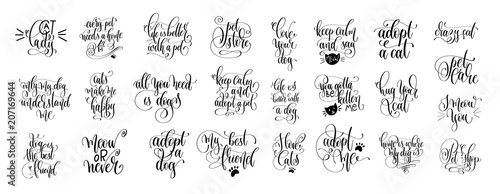 set of 25 hand lettering positive quote about cat and dog Poster Mural XXL