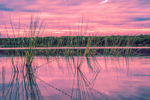 Photo Stands Candy pink sunset lake