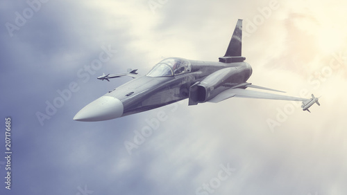 Photo  Military bomber or fighter flying in the thick clouds or smoke