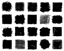 Grunge Style Set Of Square Shapes . Vector