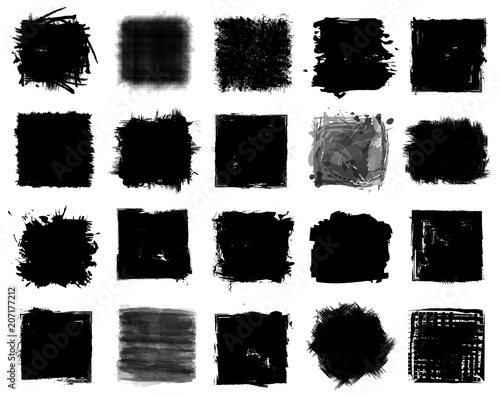 Fototapeta Grunge style set of square shapes . Vector