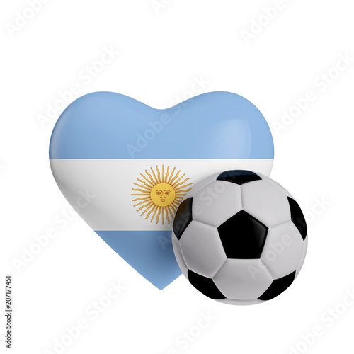 Staande foto Retro sign Argentina flag heart shape with a soccer ball. Love football. 3D Rendering