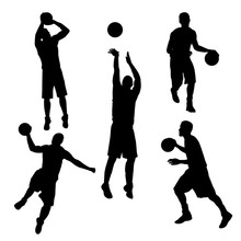 Vector Of Silhouette Basketbal...