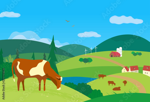 Staande foto Blauw Nature outdoor valley landscape. Colorful cartoon. Farming herd of brown cows on meadow. Rural community scene view. Domestic cattle mammal on green grass hill, field. Vector countryside background