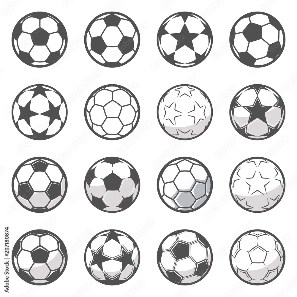 Fototapety, obrazy: Set of sixteen monochrome soccer balls. Football or soccer related. Collection symbol of football