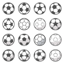 Set Of Sixteen Monochrome Soccer Balls. Football Or Soccer Related. Collection Symbol Of Football
