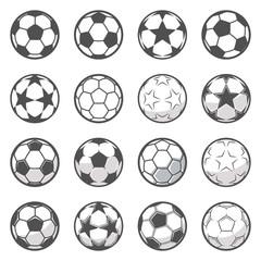 Set od šesnaest jednobojnih nogometnih lopti. Nogomet ili nogomet. Kolekcija simbol nogometa