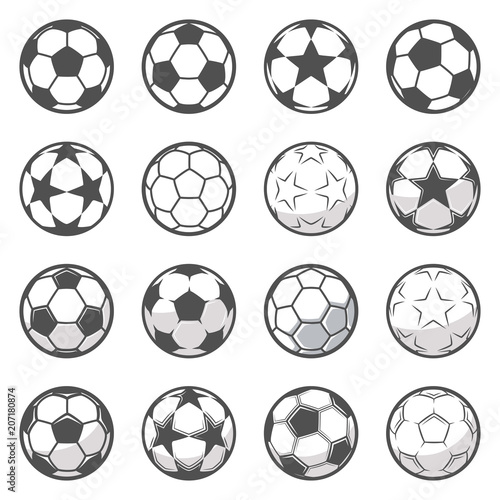 In de dag Bol Set of sixteen monochrome soccer balls. Football or soccer related. Collection symbol of football