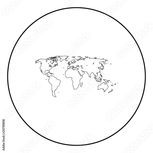 World map black icon in circle outline buy this stock vector and world map black icon in circle outline gumiabroncs Gallery
