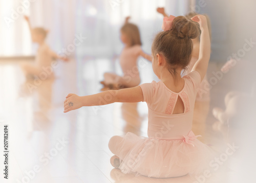 Fotografiet A Girl in Ballet Class, Pink, Tutu, Sweet, Cute, Light, Beauty, Learning