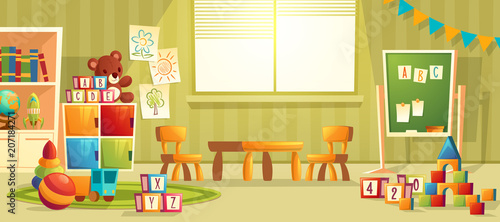 Valokuva  Vector cartoon illustration of empty kindergarten room with furniture and toys for young children
