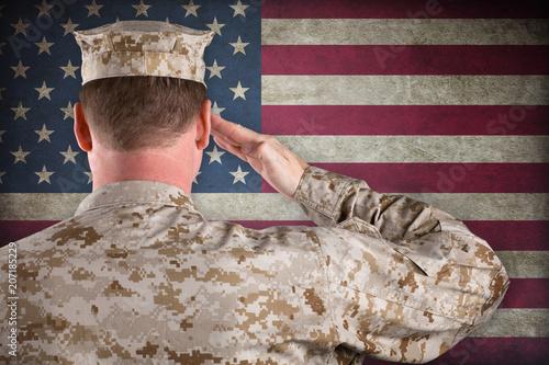 Photo  Marine In Desert Uniform Saluting In Front of American Flag