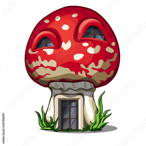 Fotografie, Obraz  Fairy house in the shape of a fly agaric isolated on a white background