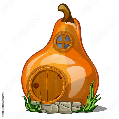 Fotografie, Obraz  Fairy house in the shape of a pear isolated on a white background