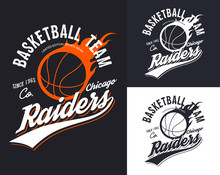 Set Of Isolated Basketball Logo For Chicago Team