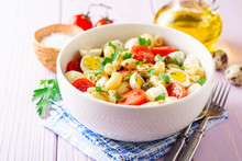 Pasta Salad With Quail Eggs, M...