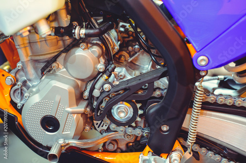 motor and chain of a modern motorcycle, sale of spare parts